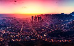 Download wallpapers Grand Theft Auto V, GTA 5, Los Santos, sunset, game world