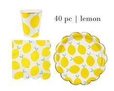 Lemon Birthday Party Set | Lemon Paper Cups | Toot Sweet Lemon Paper Plates | Meri Meri Lemon Napkins | Lemon Tableware 40pc Set