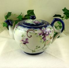 Antique Handpainted Teapot / Orchids / Green Turquoise Stamp / Japan / Vintage
