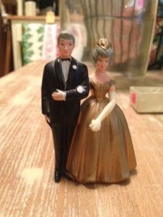 50 Year Anniversery CakeTopper, three and one half inches tall by PaintedLadyAntiques on Etsy