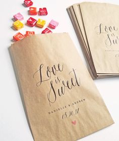 Love Is Sweet Wedding Candy Buffet Favor Bags