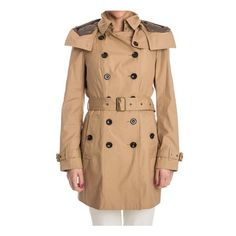 Burberry Brit Cotton Trench ($1,037) ❤ liked on Polyvore featuring outerwear, coats, camel, camel trench coat, cotton coat, burberry trenchcoat, trench coat and beige coat