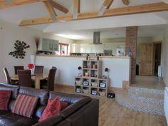 Split level kitchen & living area