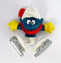 Vtg 1978 Smurfs Peyo ICE SKATER Smurf 20121 Schleich Hong Kong PVC Figure Toy #Schleich