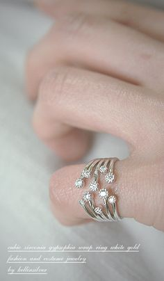 CZ Ring White Gold Ring Wrap from Kellinsilver.com – white gold wrap around ring, white gold wrap ring, Pinky Finger Ring