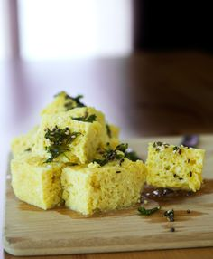 KHAMAN - Steamed or Microwaved A typical Gujarati snack, and one of the most delicious!