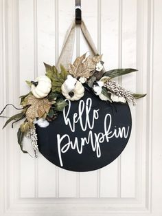 Fall Decor – For the love of pumpkins – Exploring life Together Thanksgiving Decorations, Seasonal Decor, Deco Porte Halloween, Wooden Door Signs, Wood Signs, Wooden Doors, Fall Door Hangers, Wood Door Hanger, Wood Wreath