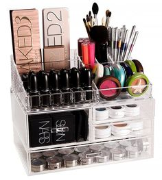 Container Storage | Organize Your Makeup With These 17 Cool DIY Organizer. From Repurposed Materials That Will Save You A Lot Of Space And Money! by Makeup Tutorials at http://makeuptutorials.com/13-extremely-cool-diy-makeup-organizers/
