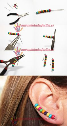 Decorate your ears materials 2 pins or rods of 5 cms also can make them with magical thread 1 mm small colorful beads round nosed pliers diyjewelry Diy Necklace, Beaded Earrings, Earrings Handmade, Handmade Jewelry, Unique Jewelry, Gold Earrings, Wire Wrapped Jewelry, Wire Jewelry, Jewelry Crafts