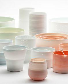 """Inhwa Lee """"Shadowed Series"""" Porcelain, Pigment, Marbling, Piercing, Wheel throwing, 1280℃ Oxidation, Reduction Firing, Polishing"""