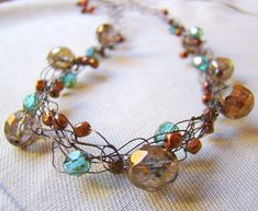 Old Gold and Copper Crochet Wire Necklace // by ElephantBeads - $24.50