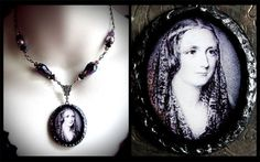 Mary Shelley, gothic writer, polymer clay pendant, purple glass beads, antiqued, Frankenstein, horror, dark, author, historical, Victorian