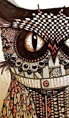 Owl Drawing Illustration Art print Zentangle bird black and white mary vogel…