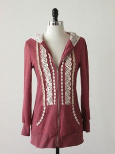 Ruby Rose Nordstrom pink lace trim puff sleeve tunic hoodie sweater S