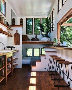 We absolutely love this tiny house design! Tag a fellow tiny … We absolutely love this tiny house design! Tag a fellow tiny house lover! Tiny House Cabin, Tiny House Living, Tiny House Plans, Tiny House Design, Home Living Room, Tiny Houses, Cozy House, Tiny House Bedroom, Tiny House Interiors