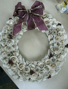 Recycled Book Page Wreath by tdlibrary, via Flickr