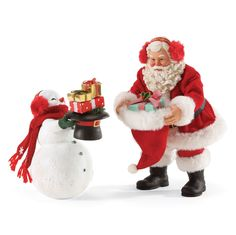 "Gift Exchange - Set of 2. For the past several years Santa and his frosty friend have been getting together near Christmas and exchanging gifts. This year they decided to include an exchange of hats as well. Introduced 2016. 10""H Z"