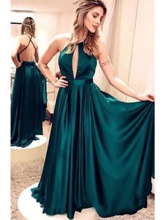 0fa3bff35d95f Charming A Line Open Back Deep V Neck Dark Green Long Homecoming Dress