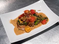 Jason's (Food Network Star) Seared Pork Tenderloin with Sauteed Tomato and Asparagus Cream Sauce Pork Tenderloin Recipes, Pork Recipes, Pork Loin, Recipies, Dinner Entrees, Dinner Recipes, Dinner Ideas, Smiths Food, Cooking Pork Roast