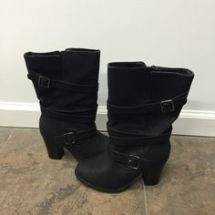 """Apt 9 Boots Black Apt 9 Boots with 2-Buckle Wrap Around & Inside Zipper! In GREAT CONDITION! 3-1/2"""" Heel, Approx. 14"""" Circumference 13"""" High Apt. 9 Shoes Heeled Boots"""