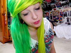 Green and yellow hair Neon Green Hair, Neon Hair, Yellow Hair, Hair Color And Cut, Cool Hair Color, Multicolored Hair, Colorful Hair, Directions Hair Dye, Half And Half Hair
