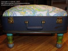 Things you can make with vintage suitcases-foot stool