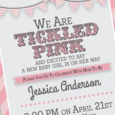 Baby Shower Invitation Tickled Pink Baby Shower by MKKMDesigns