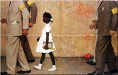 The Problem We All Live With done by Norman Perceval Rockwell is arguably the single most important image ever done of an African-American in illustration history. This piece is the most requested work at the Norman Rockwell museum in. Peintures Norman Rockwell, Norman Rockwell Art, Norman Rockwell Paintings, African American Girl, American Children, American Girls, The Saturdays, Art Moderne, Civil Rights