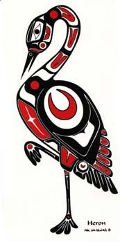 Heron Left Facing - Native Decals - Pacific Northwest Coast Native Art
