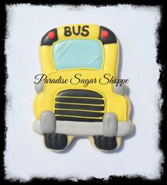School bus decorated cookies by Paradise Sugar Shoppe (using Sweet Sugarbelles design and cutter) #paradisesugarshoppe #decoratedcookies
