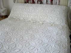Vintage Crocheted Bedspread Pillow Layover