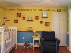 Curious George nursery (Kid's Room Contest Finalists - The Washington Post) Nursery Themes, Room Themes, Nursery Ideas, Curious George Bedroom, Kids Bedroom, Bedroom Decor, Design Bedroom, Bedroom Ideas, Children's Literature