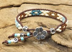 Boho Beaded Leather Wrap - Superduo Leather Cuff - Seafoam, Teal, Topaz, And Cream Leather Bracelet For Women (SW139) by CinfulBeadCreations on Etsy