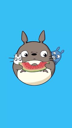 Totoro looks slightly miffed at little ones for having to share his watermelon!!! (water melon wallpaper)