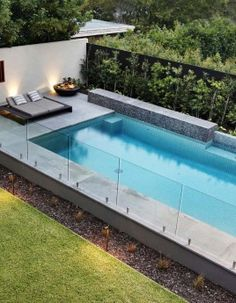 Photos from landscape design and garden design projects by Ian Barker Gardens. Small Inground Pool, Small Backyard Pools, Small Pools, Outdoor Pool, Indoor Pools, Glass Pool Fencing, Pool Fence, Swimming Pool Landscaping, Swimming Pool Designs