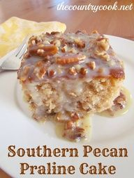 Southern Pecan Praline Cake with Butter Sauce aka Butter Pecan Cake. I have been looking for this!! Mix cake mix with german chocolate frosting. :)