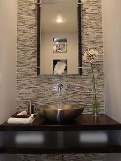 Guest bath - Room Design with Wood Walls   Powder Room Design, Bathroom Wall Tile, Vessel Sink, Wood Vanity