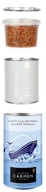 Contenido lata de fideos a la marinera.