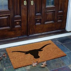 Texas Longhorns Flocked Coir Door Mat