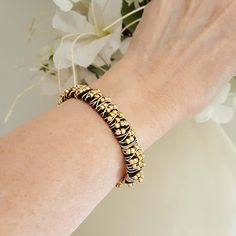 Wire Wrapped Beaded Bracelet Gold Beads. The gold beads sparkle on this wire wrapped magnetic clasp bracelet. Great addition to build your stackable bracelets collection. #leatherbracelets #goldbeadedwirewrapped #braceletsforwomen