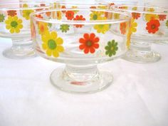 RARE Set 8 Vintage 1970's Retro Green Orange Yellow Flowers Federal Glass Footed Sherbet Bowls Mint