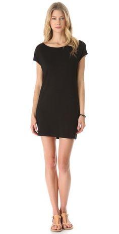 drape back dress in black