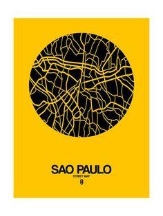 Sao Paulo Street Map Yellow Posters por NaxArt na AllPosters.com.br