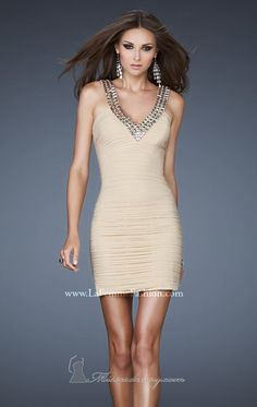2014 New Style V-Neck Embellished Strap Dress by La Femme [18409]