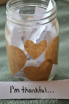 """Thankful Jar from Creative Family Fun. A simple craft that fosters gratitude throughout the holiday season"""