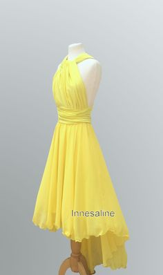 Tailored to Size & LengthConvertible/Infinity Dress - short with asymmetric chiffon skirt in color bright yellow