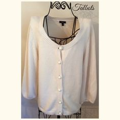 Cream Colored Long Sleeved Button Up Sweater Cute and Practical Cardigan Talbots Sweaters