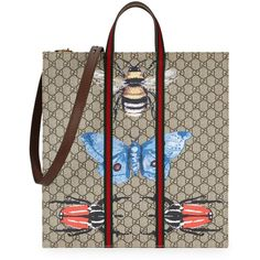 Gucci Butterfly Monogrammed Tote ($1,045) ❤ liked on Polyvore featuring bags, handbags, tote bags, monogrammed purses, stripe tote bag, brown handbags, handbags totes and striped tote bag