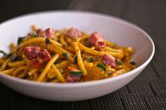 10/7/13 {recipe} Bucatini with Pancetta and Pumpkin-Parmesan Sauce