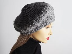 506be21b587 Gray slouchy beanie Ready to ship Chunky knit by TheMastHatter